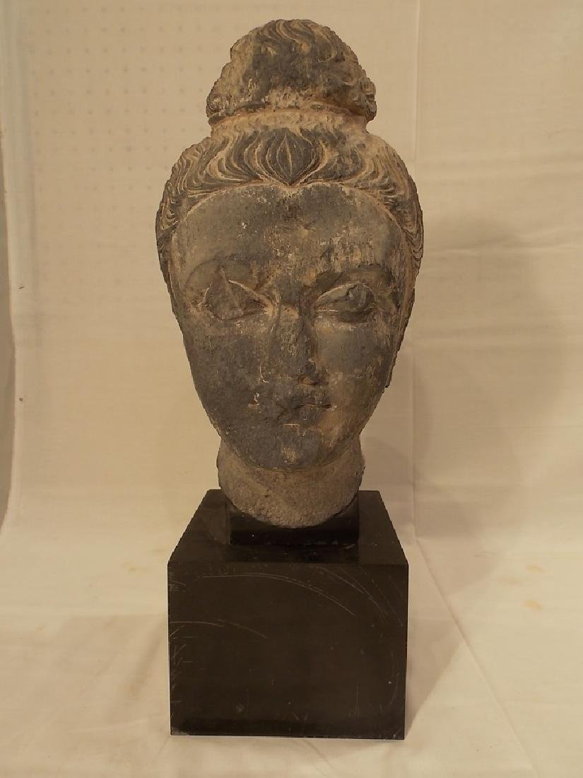 ANTIQUE CARVED STONE BUST OF ASIAN WOMAN