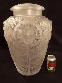 MASSIVE LALIQUE GLASS PSYCHE COVERED URN