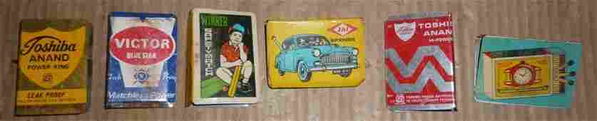 OLD MATCH BOX METAL COVER PRINTED LOT OF SIX