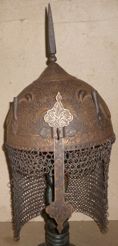 RARE INDO PERSION WARRIOR HELMET STEEL 2 SNAKES FIG.