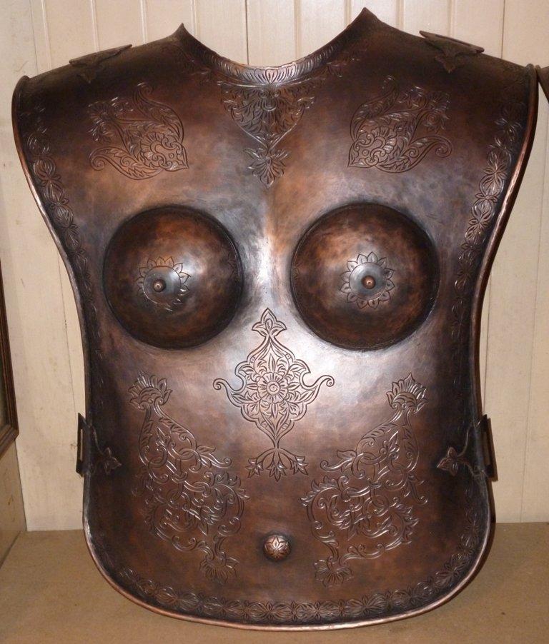 ANTIQUE  FEMALE WARRIOR CHEST & BACK PLATES