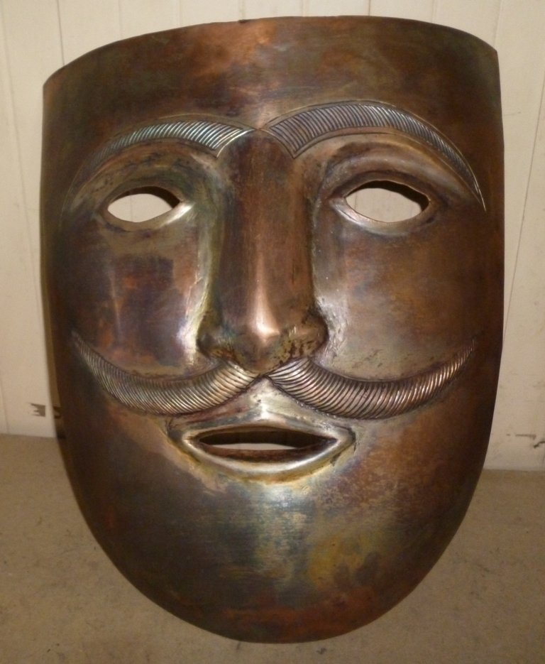 MAN FACE MASK COPPER PLATED HAND MADE DETAILED WORK