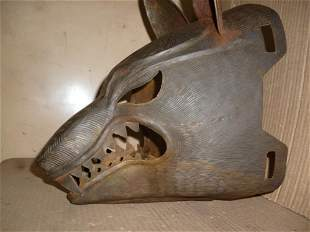 RARE WARRIOR STEEL WOLF MASK FRIGHTENED ENEMY ENGRAVED