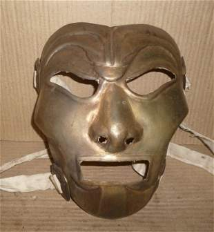 RARE WARRIOR STEEL MASK FRIGHTENED ENEMY BRASS PLATED