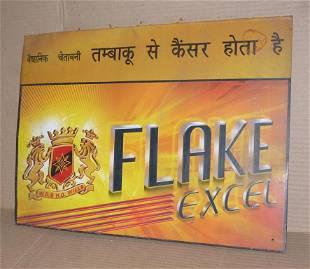 OLD ADVERTISMENT TIN SIGN FLAKE EXCEL CIGARETTE