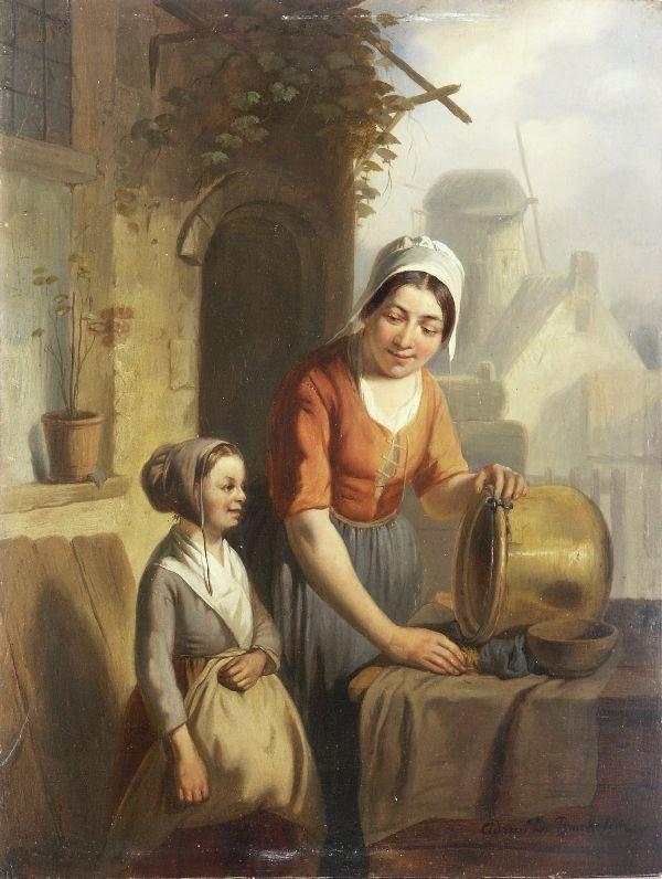 """1: Adrien Ferdinand Braekeleer """"Mother and daughter"""