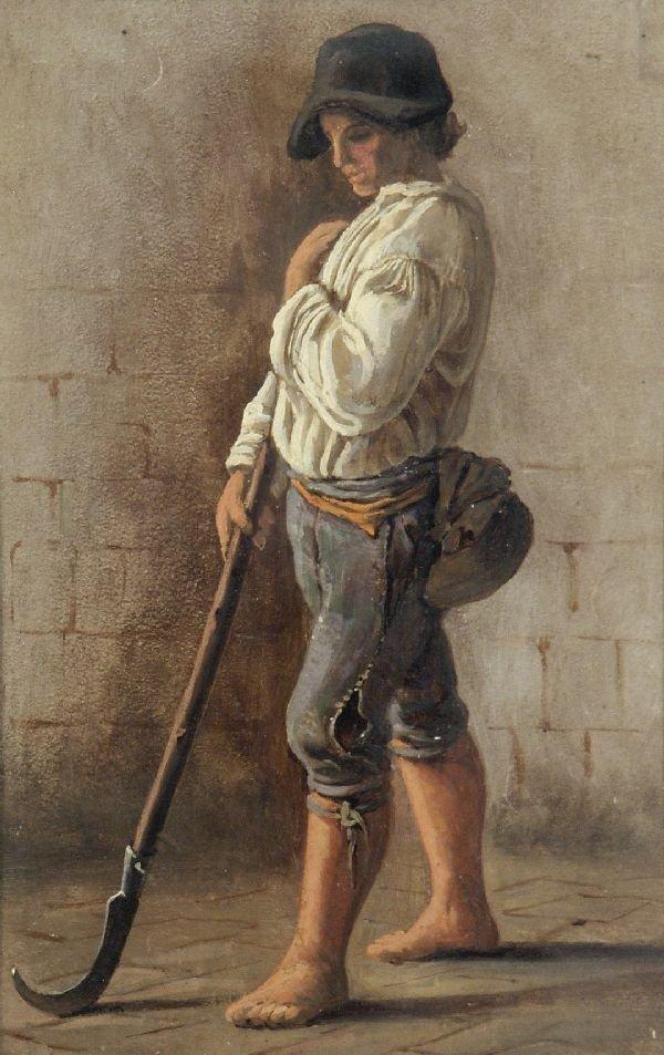 """2: Woldemar Hottenroth """"Farmer boy with scythe"""". Ca."""