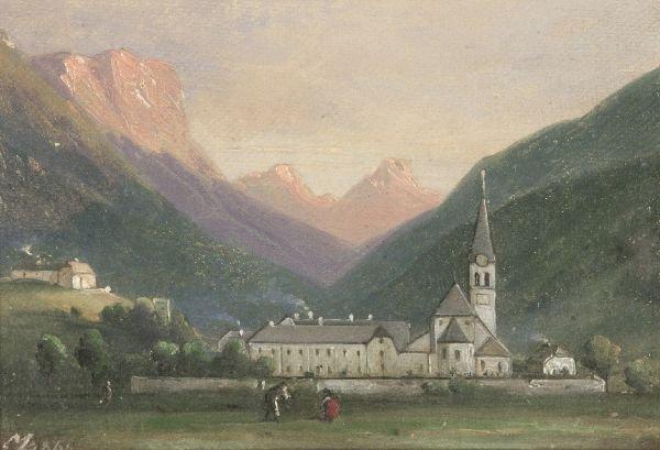 """8: Moritz Eduard Lotze """"Landscape of the Alps"""". 1864"""