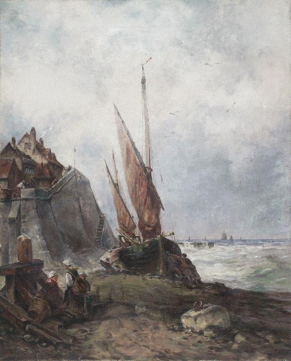 "10: Jacob Maris (attributed) ""Coastal scene"". Late 19"