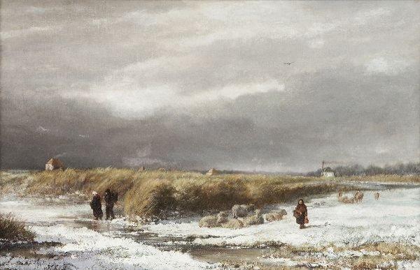 """18: Klaas van Vliet """"Winter landscape"""". Ca. 1880."""