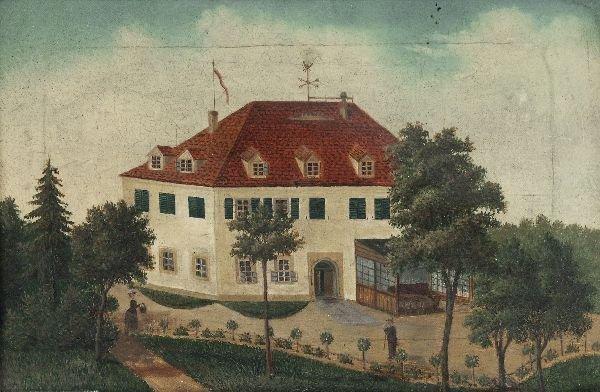 """22: Unknown German artist """"View of a villa"""". 19th cen"""