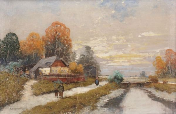 "11: Georg Fischhof ""Autumn river landscape"". 1910."