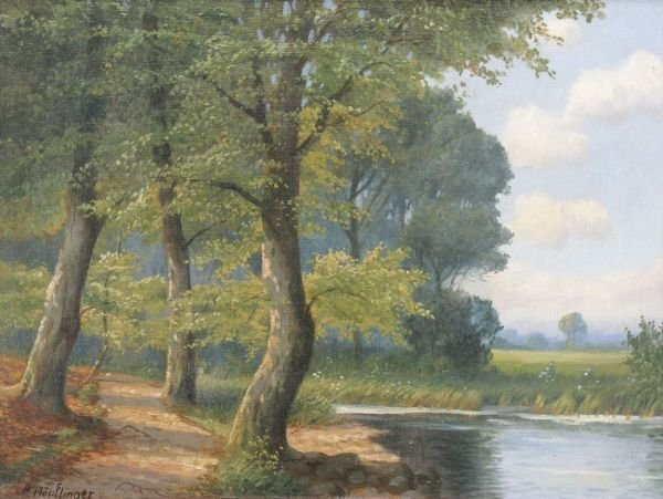 "17: Max Höpflinger ""Wood with lake"". No date."