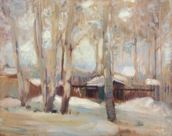 "24: Johannes Kühl ""Sommerhouses in the snow"". Ca. 194"