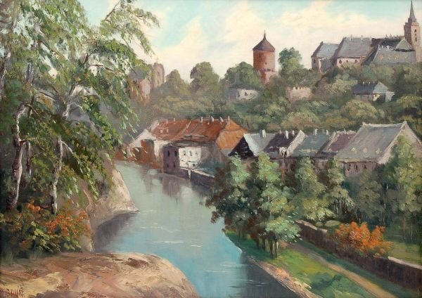 "1: M. Baur ""Bautzen, Spreeidyll"". 1st half 20th cent"