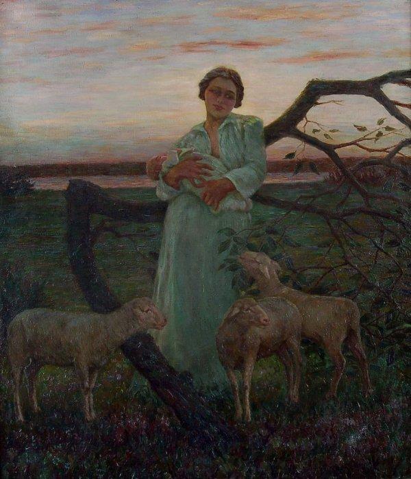 "2: Walter Beyermann ""Sheep meadow at dawn with mothe"
