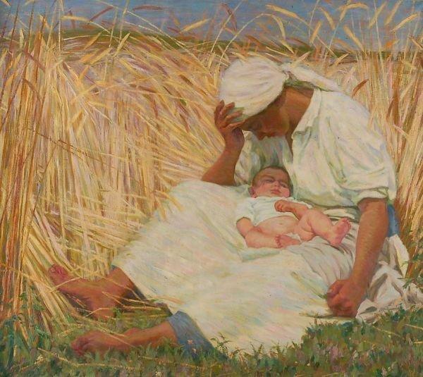 "3: Walter Beyermann ""Mother and child in a corn fiel"