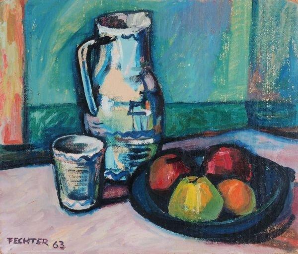 "10: Ernst Fechter ""Still life with pitcher and apples"