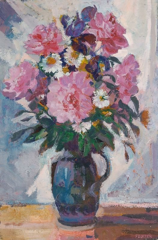 """11: Ernst Fechter """"Still life with flowers in a pitch"""