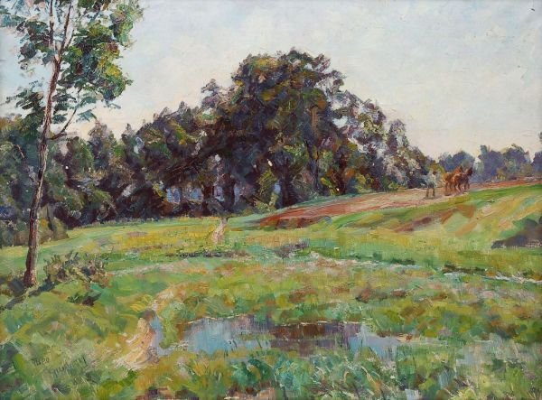 """20: Theodore Guillery """"Summer countryside with plough"""