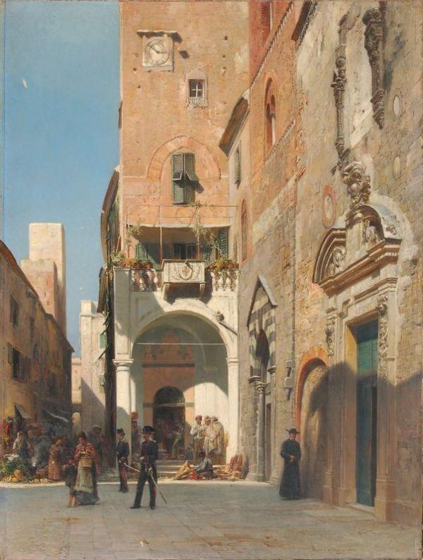 "22: Hans Hartmann ""Minster square in Albenga"". 1899."