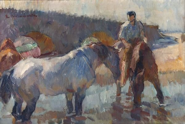 """23: Emanuel Hegenbarth """"Horses in the watering place"""""""