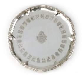 895: Large silver plate. Heinrich Mau, Dresden. Around