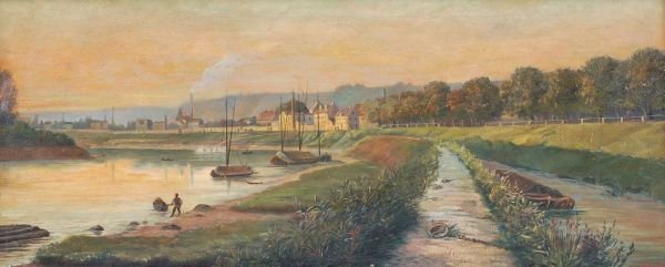 "1: Carl Apitz ""Pieschen with harbour"". Around 1880."