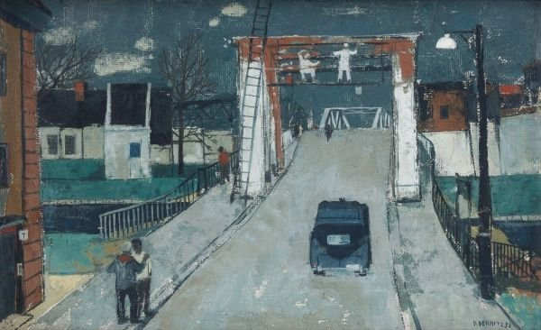 "4: Bruno Bernitz ""Cityscape with bridge"". 1952."