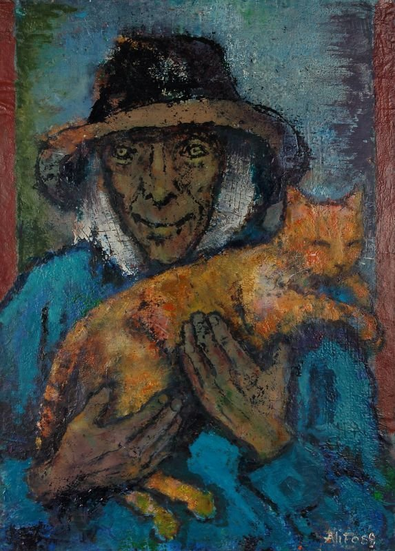 "9: Alice Brasse-Forstmann ""Farmer with a cat"". 1989."