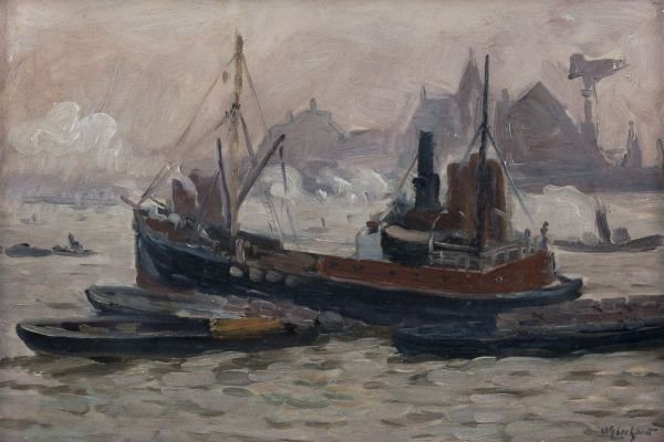 "14: w. Eberhardt ""Fog at Hamburg harbour"". 1923."