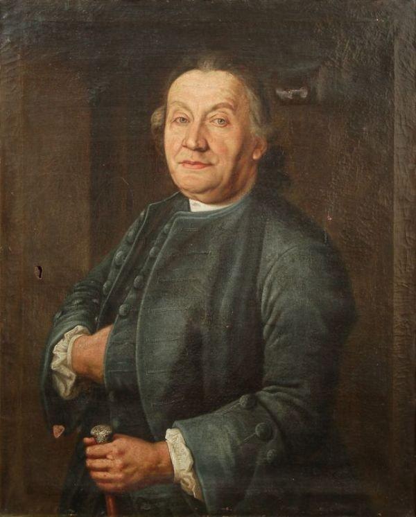 Unbekannter Künstler, Bildnis eines Herren mit Gehstock