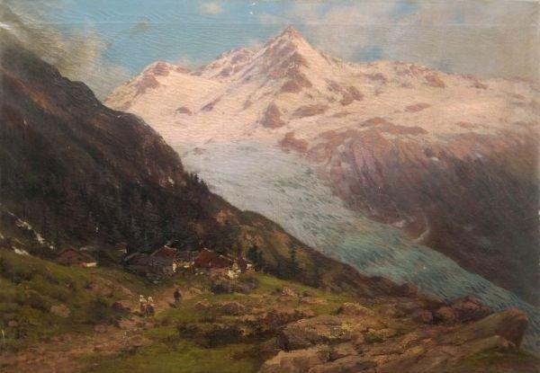Ludwig Lanckow, Alpengletscher im Sommer. 1900.