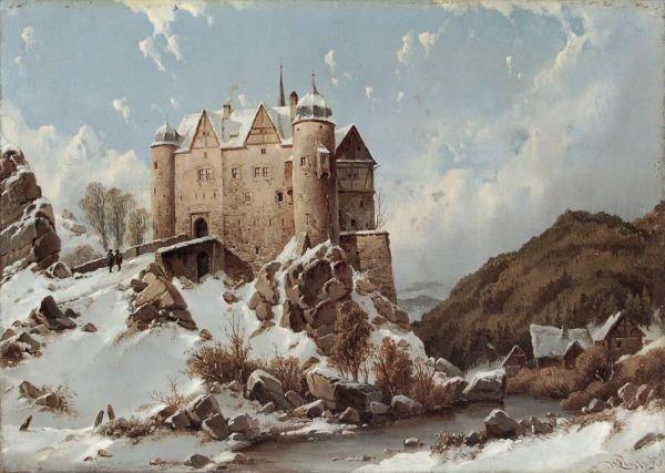 Carl Julius von Leypold, Burgberg im Schnee. Wohl um 18