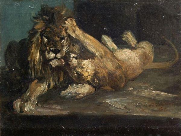 Paul Friedrich Meyerheim, Liegendes Löwenpaar. 1878.