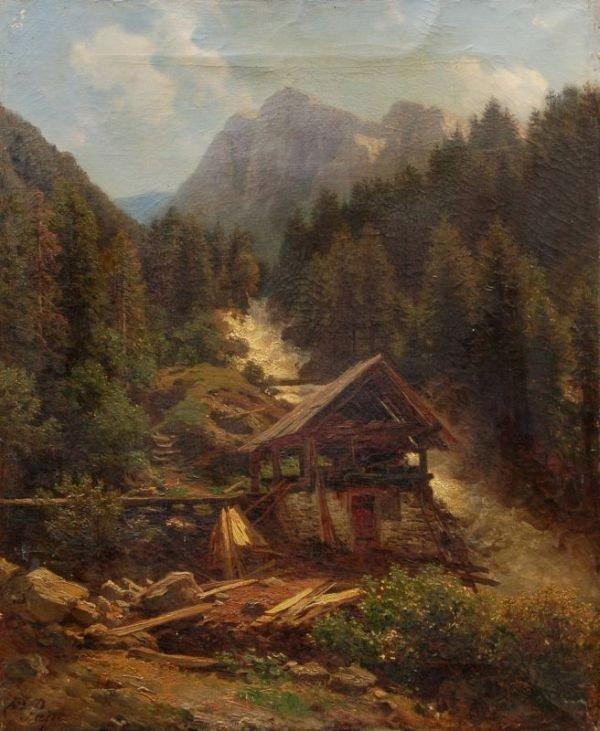 Friedrich Pape, Sägemühle an einem alpenländischen Stur