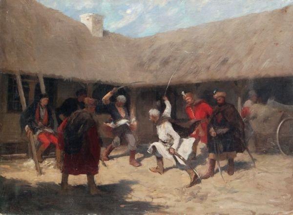 Isodore Pils, Säbelkampf auf der Krim. Um 1855.