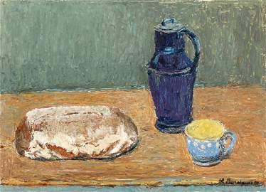 """105: Theodor Rosenhauer """"Stilleben mit Brot, blauem Kru"""