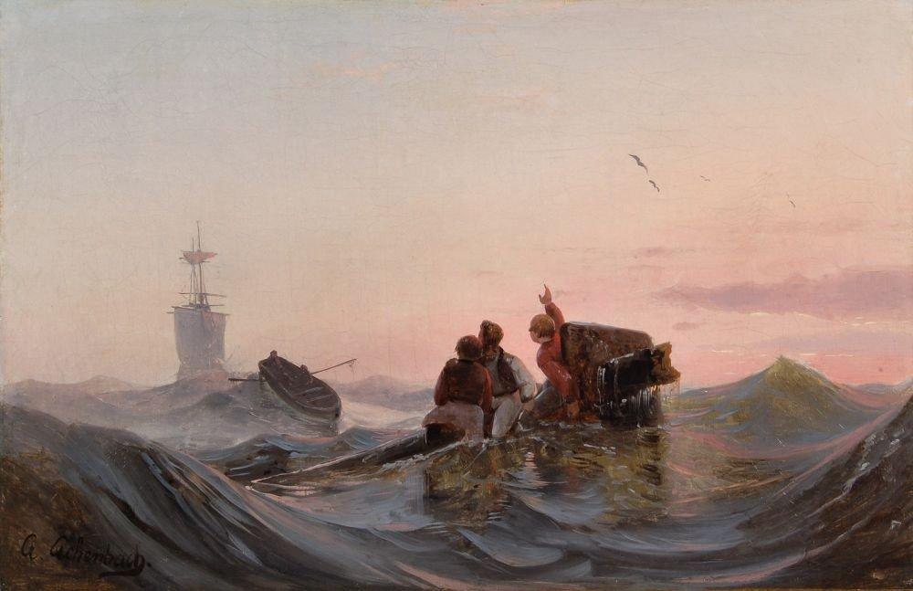 3: Andreas Achenbach (zugeschr.), Rettung der Schiffbrü
