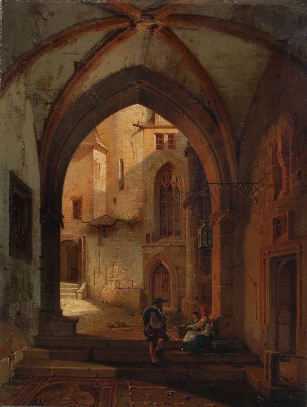 5: Gustav Adolf Hahn, Blick in einen gotischen Innenhof