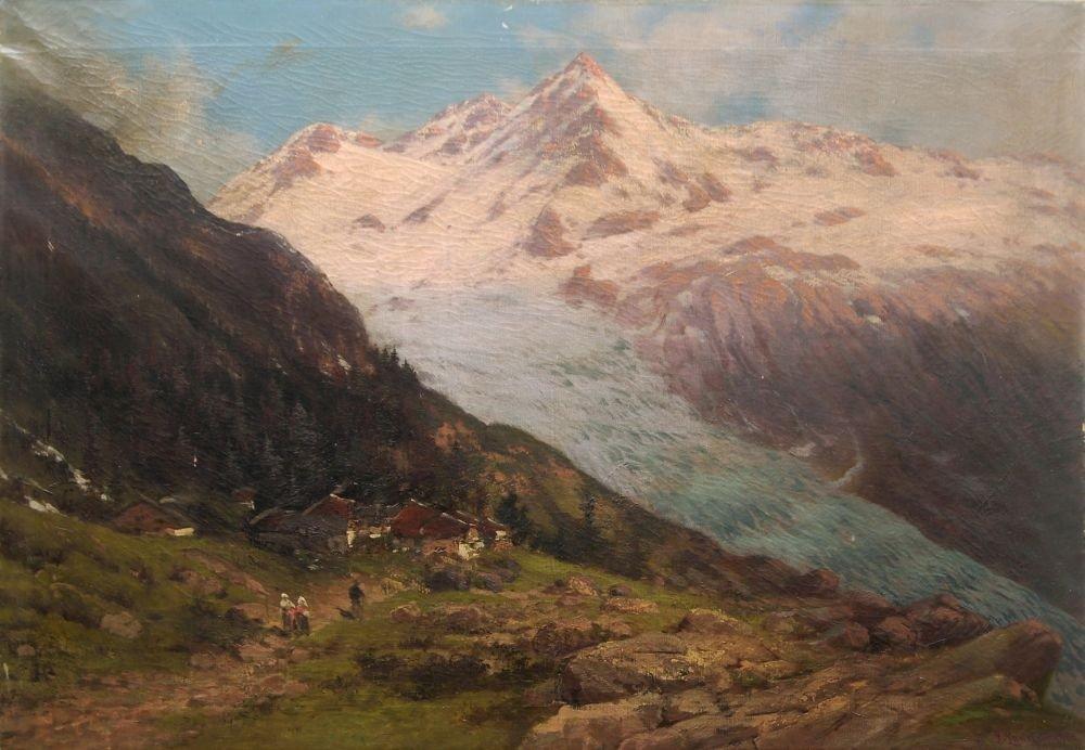 7: Ludwig Lanckow, Alpengletscher im Sommer. 1900.