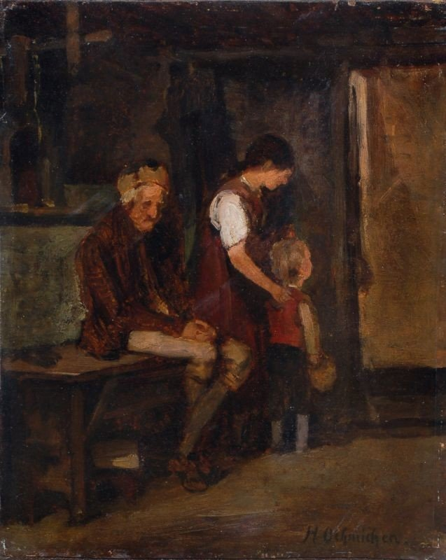 12: Hugo Oehmichen, Abschied vom Großvater. Wohl 1890's