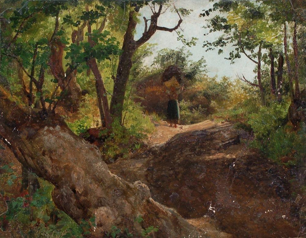 15: Adolph Thomas, Waldszene mit korbtragender Frau. Wo