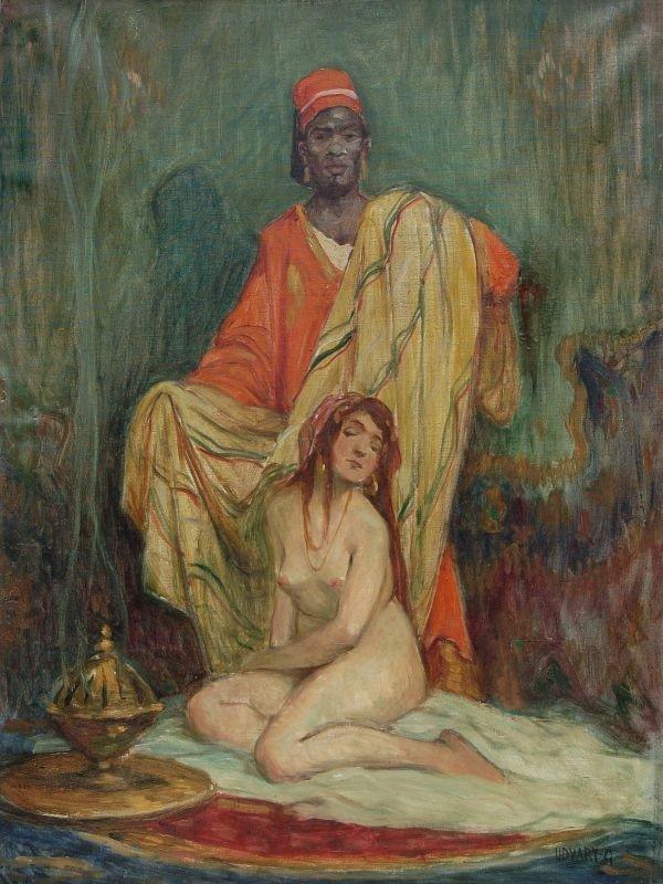 16: Géza Udvary, Odaliske mit Diener. Um 1900.