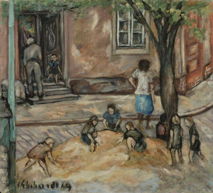 """38: Curt Ehrhardt """"Der Sandhaufen (Spielende Kinder am"""