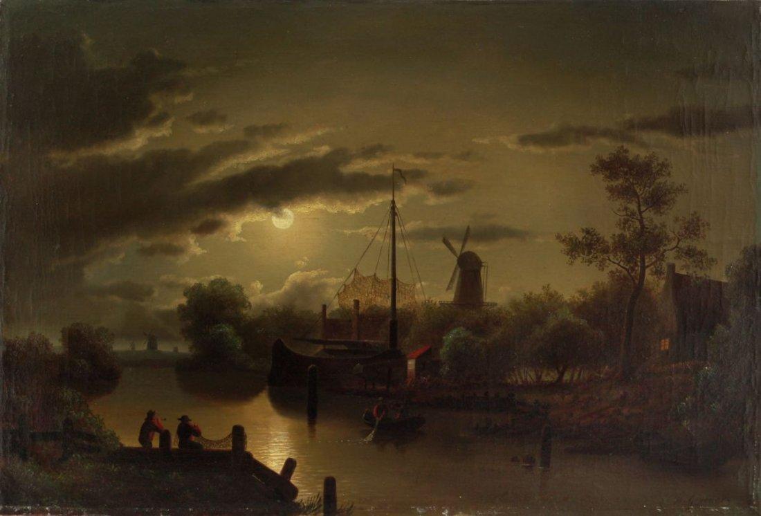 8: Theodor Genenger, Fischer im Mondschein vor einer Wi