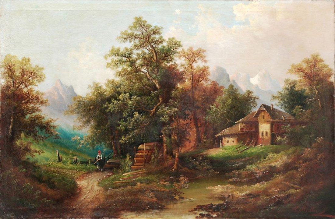 21: Heinrich Eduard Müller, Alpenhof mit Gebirgsbach. U