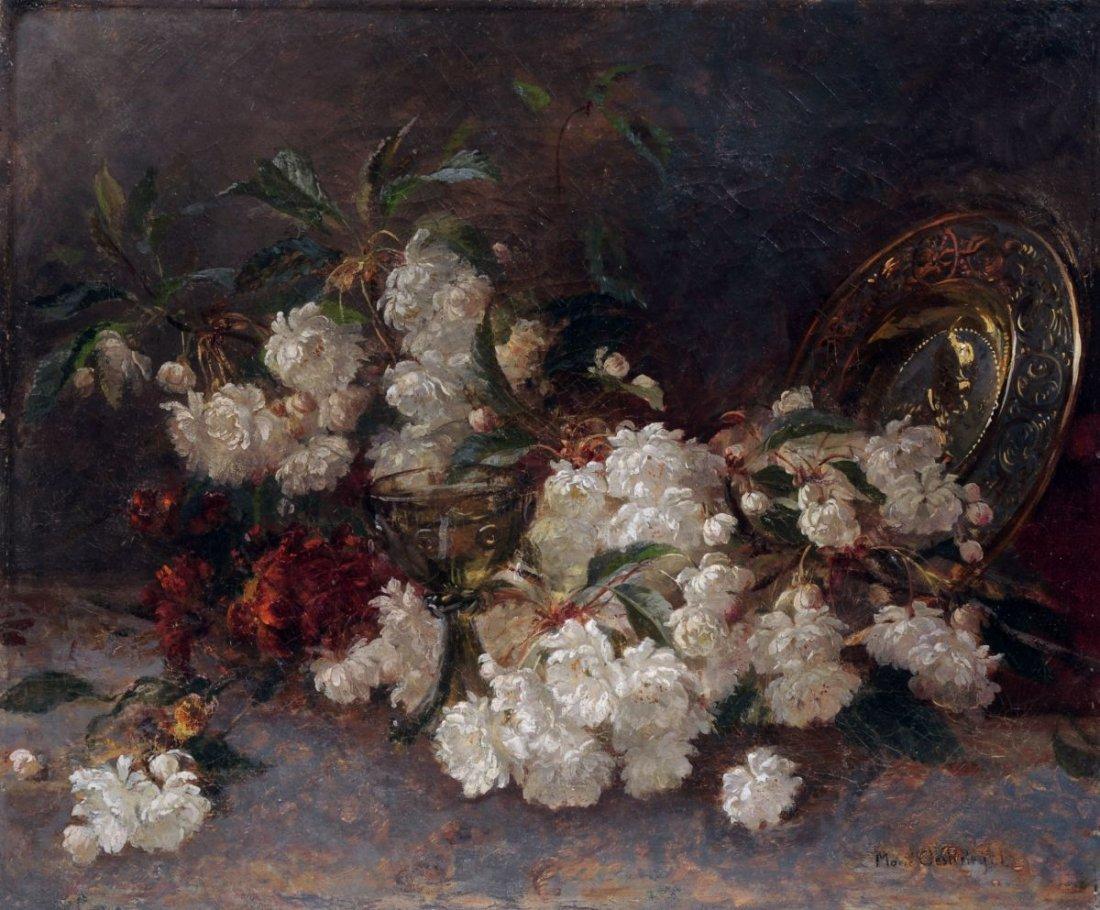 22: Marie Oesterley, Blütenstilleben mit Pokalglas und