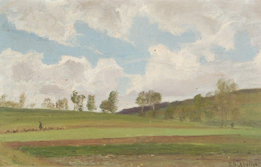 28: Paul Wilhelm Tübbecke, Hügelige Landschaft mit Scha