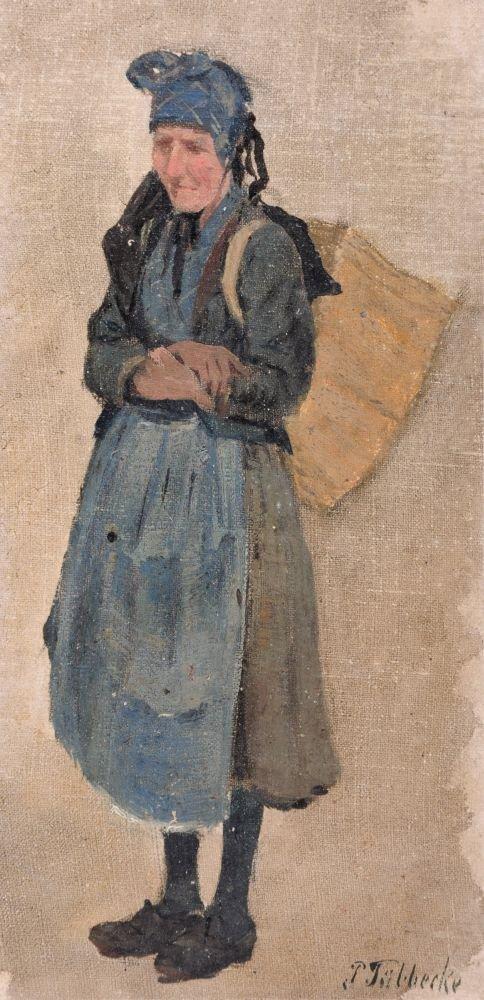 30: Paul Wilhelm Tübbecke, Bäuerin mit Kiepe. Wohl um 1